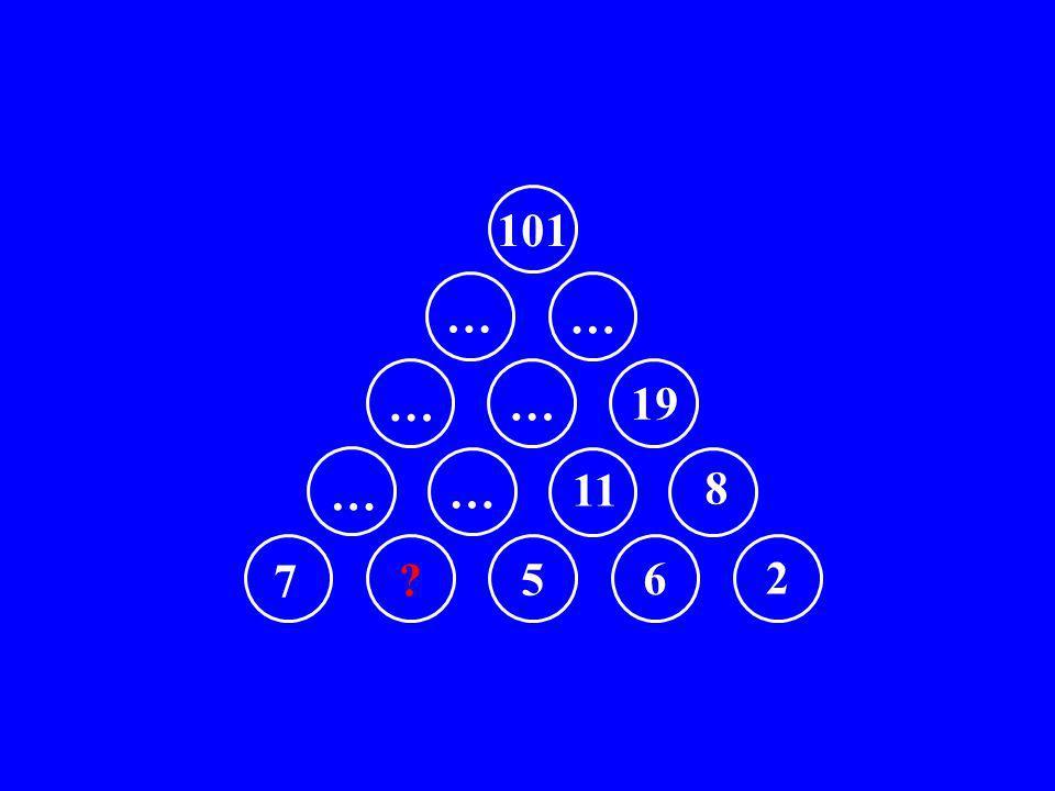 7 5 6 2 … … 11 8 … … 19 … … 101