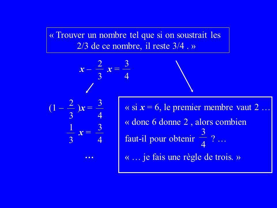« Trouver un nombre tel que si on soustrait les 2/3 de ce nombre, il reste 3/4.