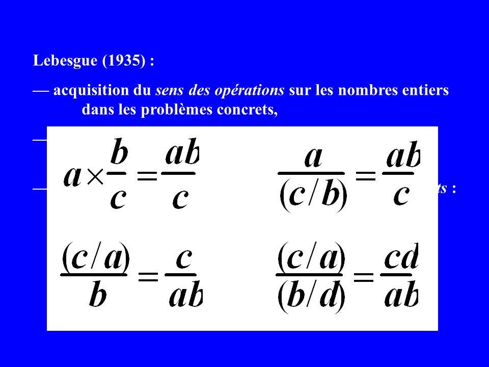 Lebesgue (1935) : acquisition du sens des opérations sur les nombres entiers dans les problèmes concrets, extension aux nombres réels comme développem