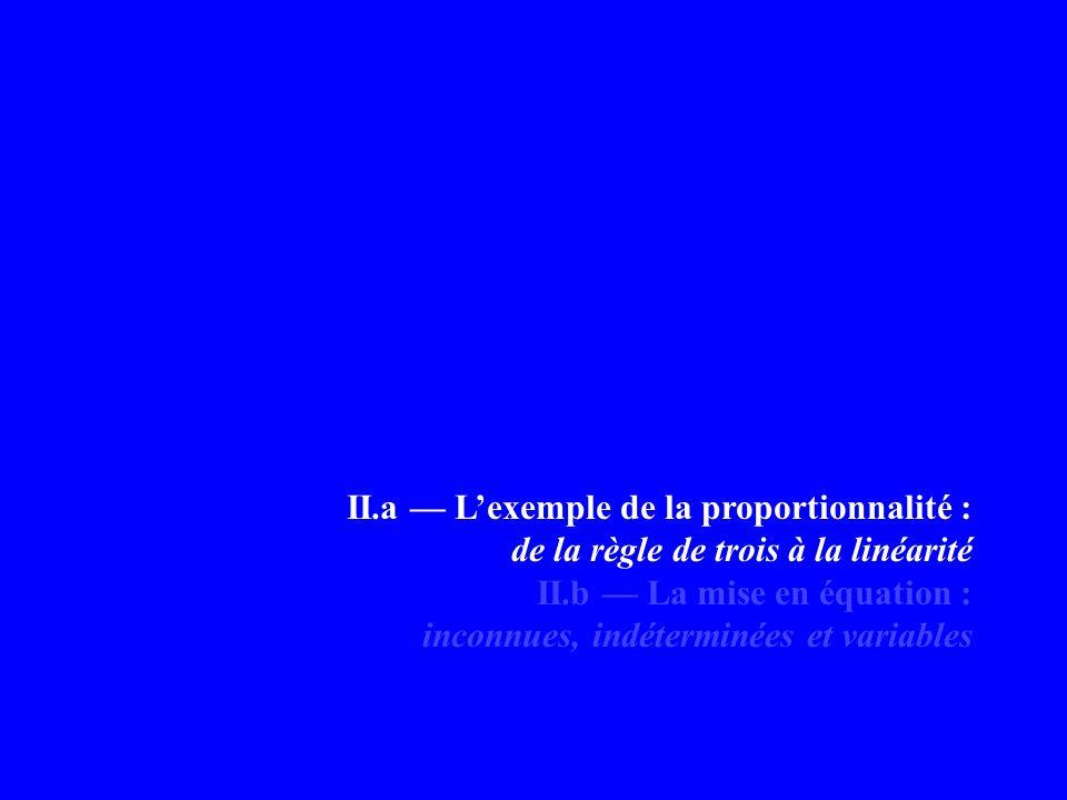 II.a Lexemple de la proportionnalité : de la règle de trois à la linéarité II.b La mise en équation : inconnues, indéterminées et variables