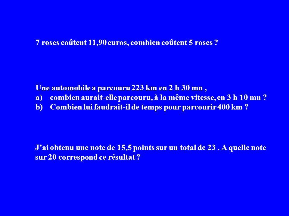 7 roses coûtent 11,90 euros, combien coûtent 5 roses ? Une automobile a parcouru 223 km en 2 h 30 mn, a)combien aurait-elle parcouru, à la même vitess
