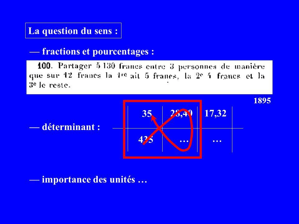 La question du sens : fractions et pourcentages : 1895 déterminant : 35 435 28,40 … 17,32 … importance des unités …