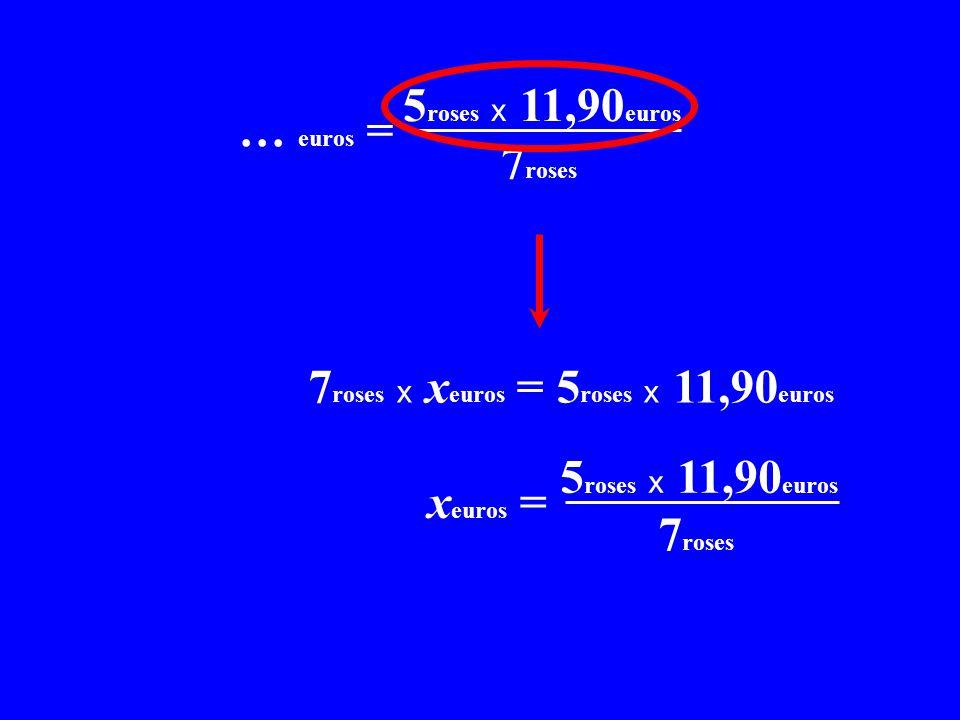 x C = 5 roses x 11,90 euros x… euros = 7 roses 7 roses x x euros = 5 roses x 11,90 euros x C = 5 roses x 11,90 euros X x euros = 7 roses