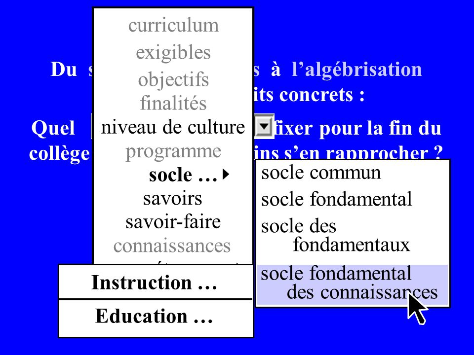 Du sens des opérations à lalgébrisation des problèmes dits concrets : Quel niveau de culture fixer pour la fin du collège et par quels chemins sen rap