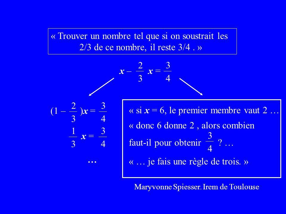 Maryvonne Spiesser. Irem de Toulouse « Trouver un nombre tel que si on soustrait les 2/3 de ce nombre, il reste 3/4. » x – x = 2 3 3 4 (1 – )x = 2 3 3