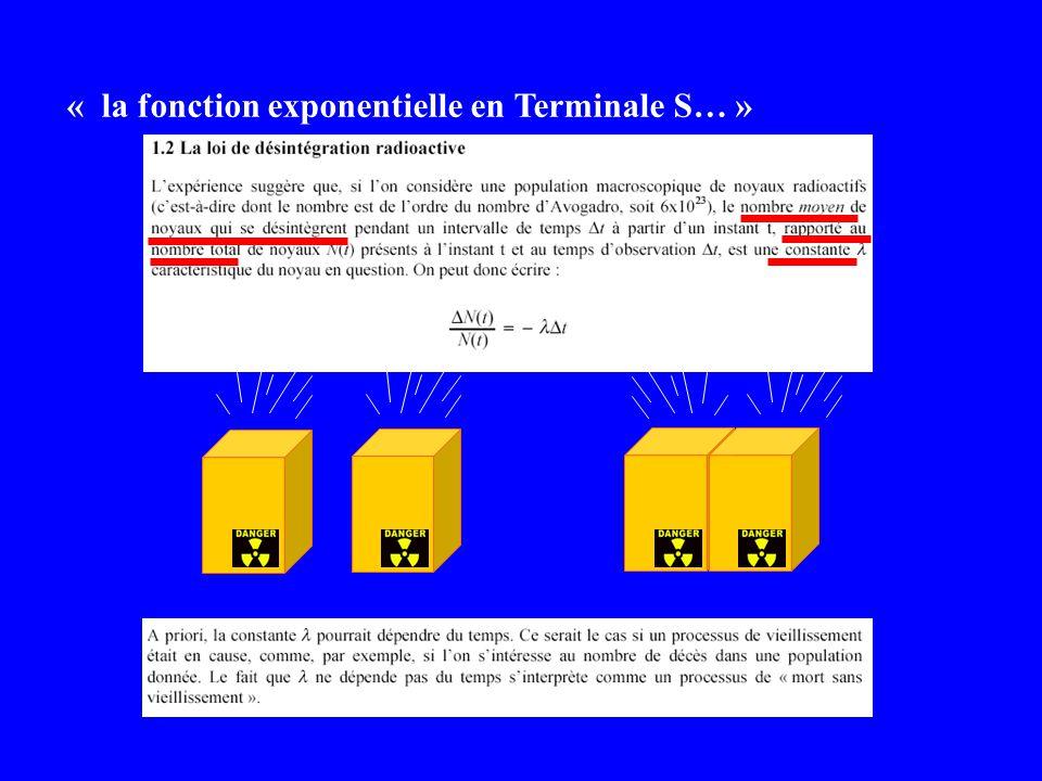 « la fonction exponentielle en Terminale S… »