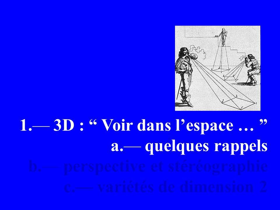 1. 3D : Voir dans lespace … a. quelques rappels b.