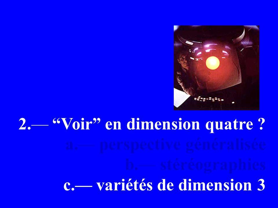 2. Voir en dimension quatre . a. perspective généralisée b.