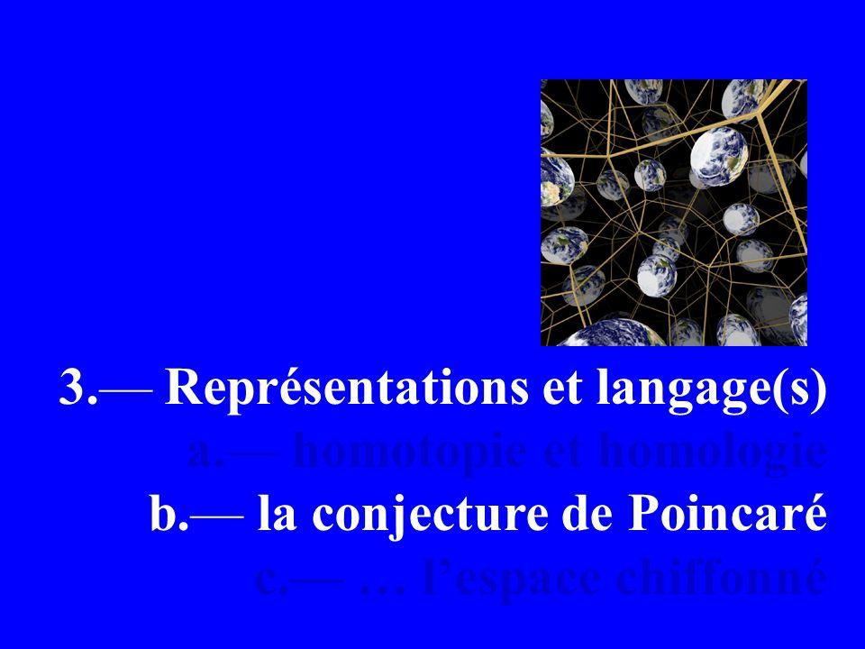 3. Représentations et langage(s) a. homotopie et homologie b.