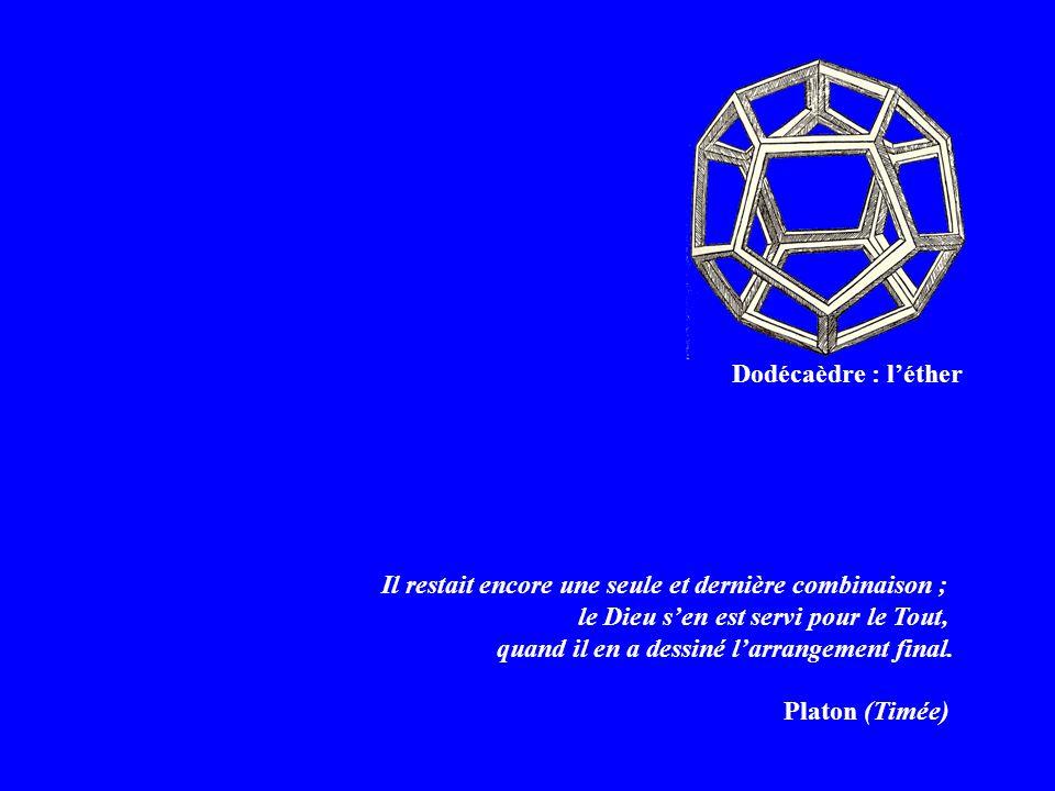 Dodécaèdre : léther Il restait encore une seule et dernière combinaison ; le Dieu sen est servi pour le Tout, quand il en a dessiné larrangement final.