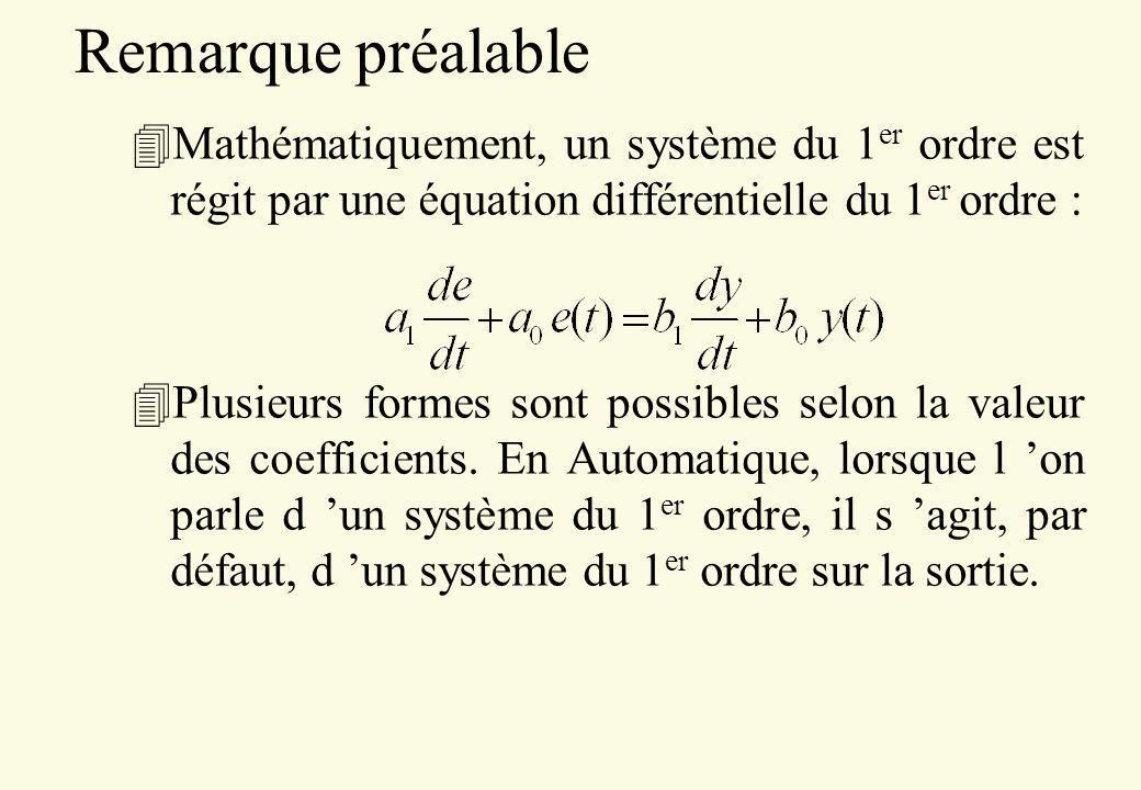 Remarque préalable 4Mathématiquement, un système du 1 er ordre est régit par une équation différentielle du 1 er ordre : 4Plusieurs formes sont possib