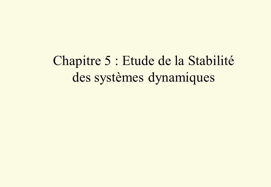 Chapitre 5 : Etude de la Stabilité des systèmes dynamiques