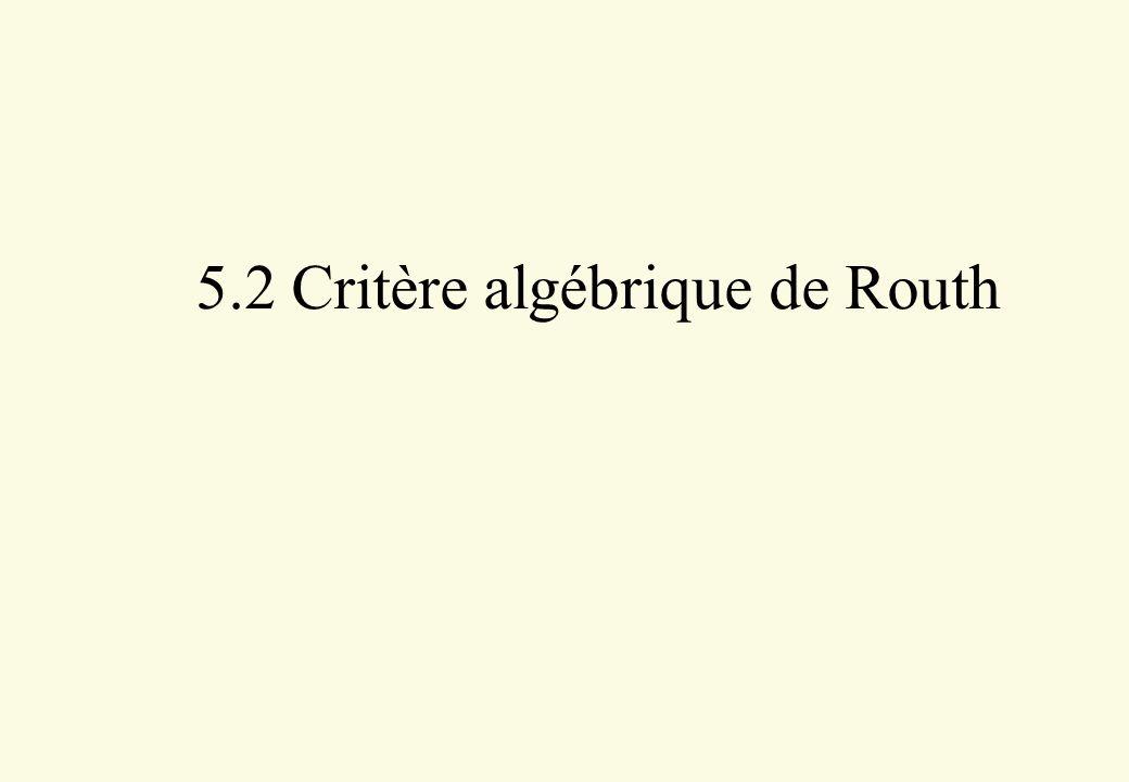 5.2 Critère algébrique de Routh