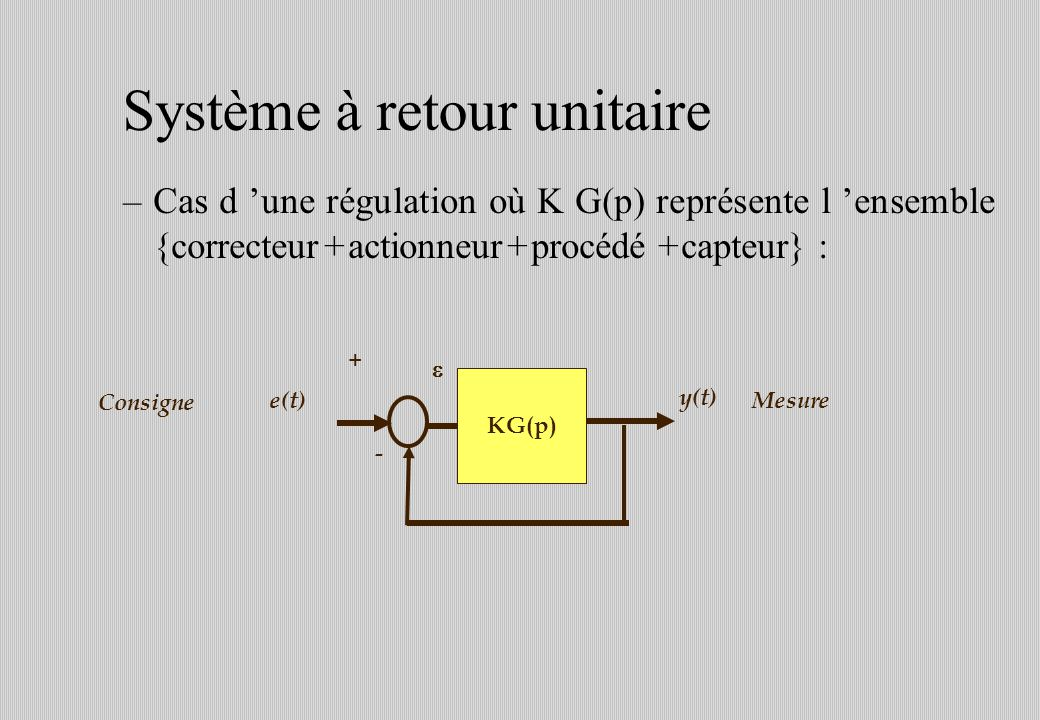 Système à retour unitaire –Cas d une régulation où K G(p) représente l ensemble {correcteur + actionneur + procédé + capteur} : e(t) y(t) KG(p) - + Consigne Mesure
