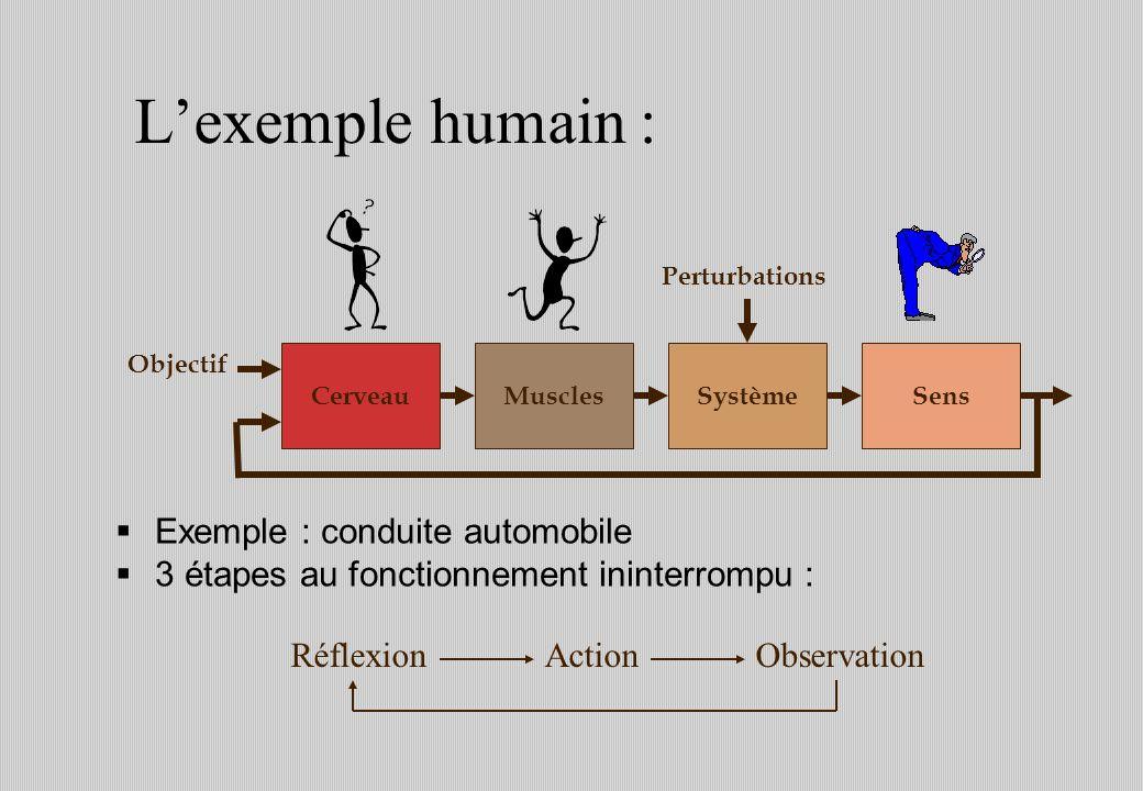 Exemple : conduite automobile 3 étapes au fonctionnement ininterrompu : Lexemple humain : SystèmeMuscles Perturbations CerveauSens Objectif RéflexionActionObservation