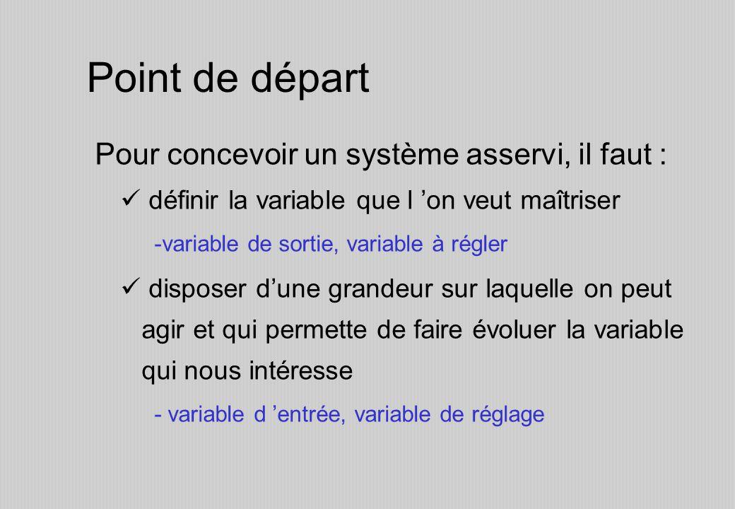 Point de départ Pour concevoir un système asservi, il faut : définir la variable que l on veut maîtriser -variable de sortie, variable à régler disposer dune grandeur sur laquelle on peut agir et qui permette de faire évoluer la variable qui nous intéresse - variable d entrée, variable de réglage