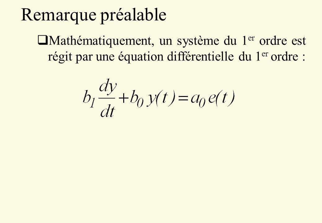 Remarque préalable Mathématiquement, un système du 1 er ordre est régit par une équation différentielle du 1 er ordre :