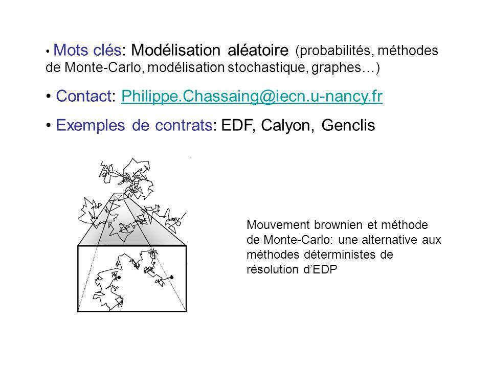 Mots clés: Modélisation aléatoire (probabilités, méthodes de Monte-Carlo, modélisation stochastique, graphes…) Contact: Philippe.Chassaing@iecn.u-nanc