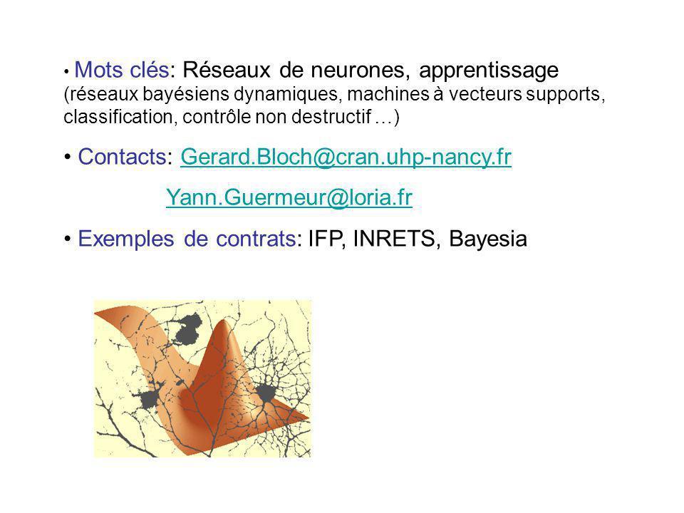Mots clés: Réseaux de neurones, apprentissage (réseaux bayésiens dynamiques, machines à vecteurs supports, classification, contrôle non destructif …)