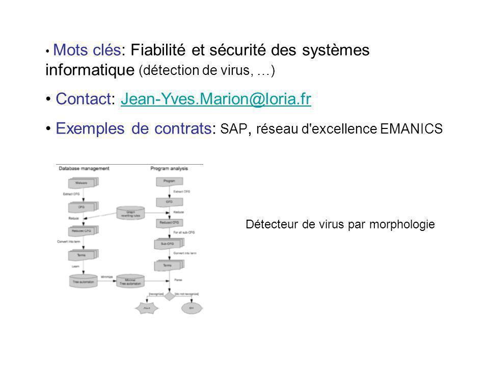 Mots clés: Fiabilité et sécurité des systèmes informatique (détection de virus, …) Contact: Jean-Yves.Marion@loria.frJean-Yves.Marion@loria.fr Exemple