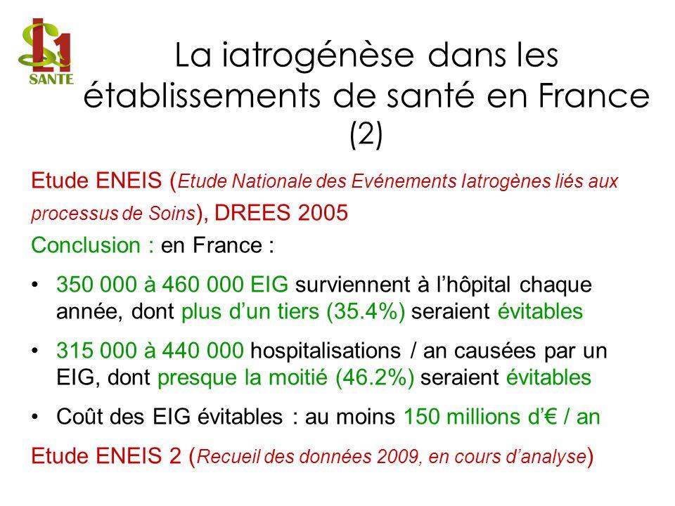 Etude ENEIS ( Etude Nationale des Evénements Iatrogènes liés aux processus de Soins ), DREES 2005 Conclusion : en France : 350 000 à 460 000 EIG survi