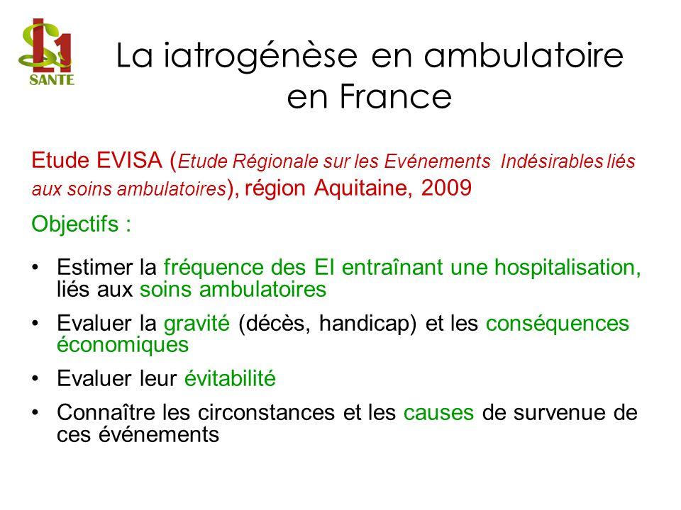 Etude EVISA ( Etude Régionale sur les Evénements Indésirables liés aux soins ambulatoires ), région Aquitaine, 2009 Objectifs : Estimer la fréquence d
