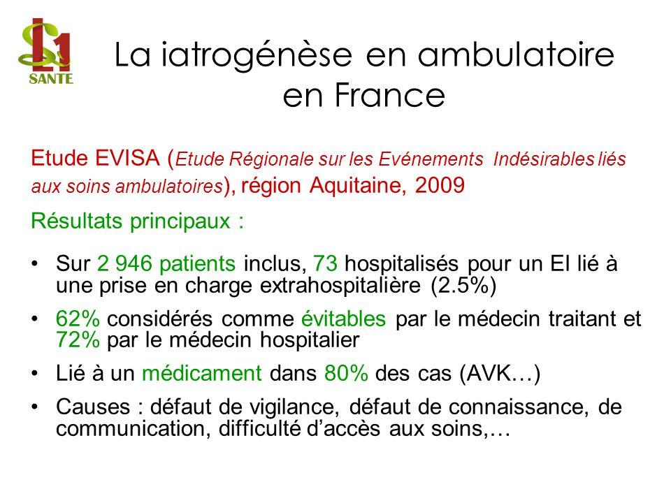 Etude EVISA ( Etude Régionale sur les Evénements Indésirables liés aux soins ambulatoires ), région Aquitaine, 2009 Résultats principaux : Sur 2 946 p