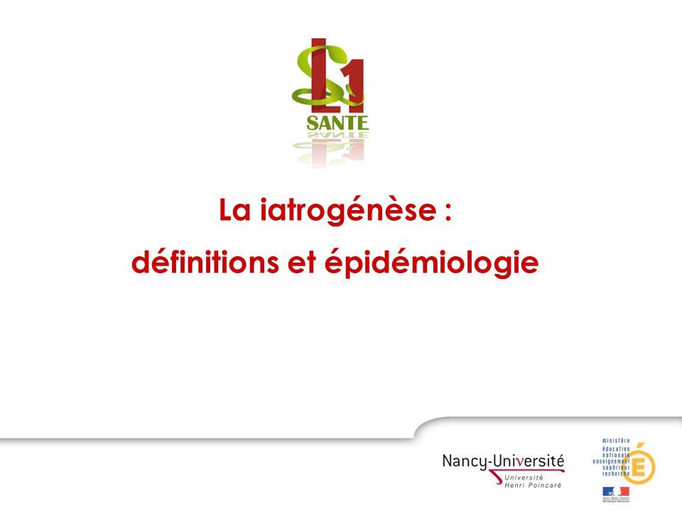Etude ENEIS ( Etude Nationale des Evénements Iatrogènes liés aux processus de Soins ), DREES 2005 8 754 patients, 35 234 journées dhospitalisation : 450 événements iatrogènes graves (EIG) 45.5% des EIG sont la cause de lhospitalisation, 54.5% surviennent pendant lhospitalisation 3 à 5% des séjours hospitaliers 6.6 EIG pour 1 000 journées dhospitalisation La iatrogénèse dans les établissements de santé en France (2)