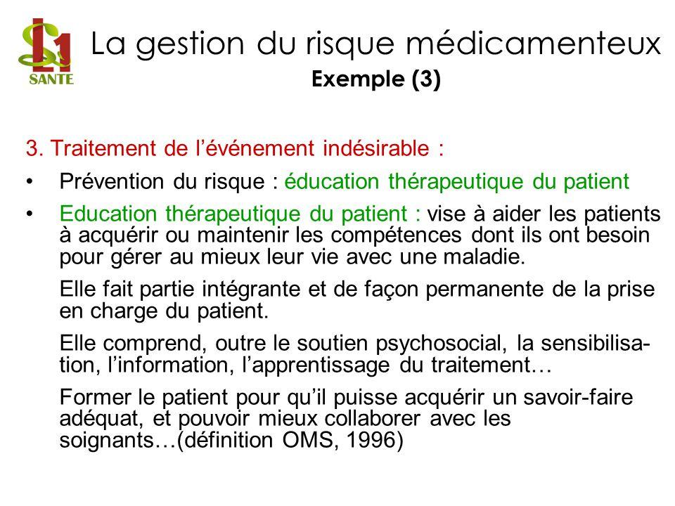 3. Traitement de lévénement indésirable : Prévention du risque : éducation thérapeutique du patient Education thérapeutique du patient : vise à aider