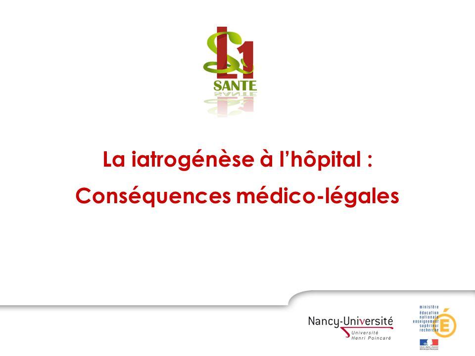 La iatrogénèse à lhôpital : Conséquences médico-légales