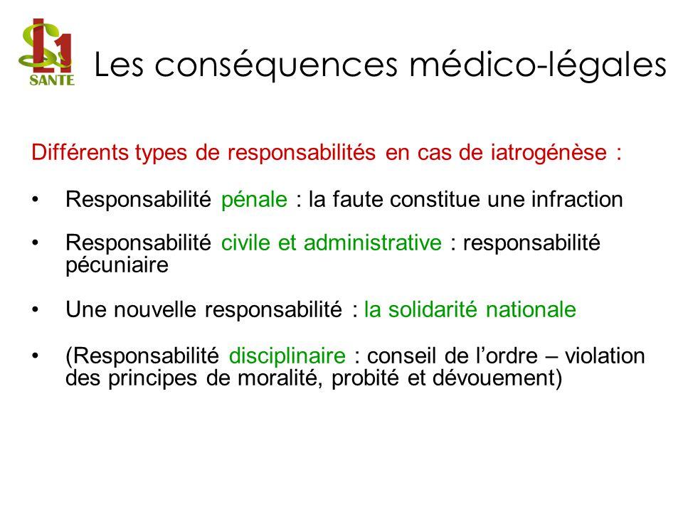 Différents types de responsabilités en cas de iatrogénèse : Responsabilité pénale : la faute constitue une infraction Responsabilité civile et adminis
