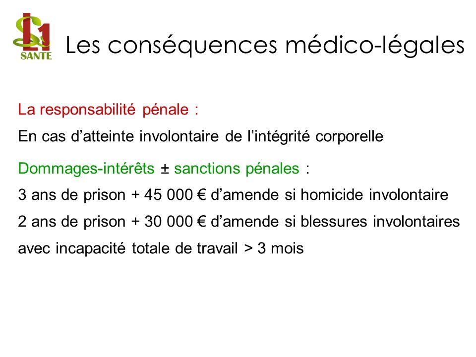 La responsabilité pénale : En cas datteinte involontaire de lintégrité corporelle Dommages-intérêts ± sanctions pénales : 3 ans de prison + 45 000 dam