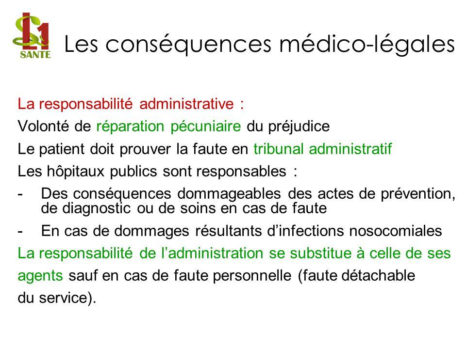 La responsabilité administrative : Volonté de réparation pécuniaire du préjudice Le patient doit prouver la faute en tribunal administratif Les hôpita