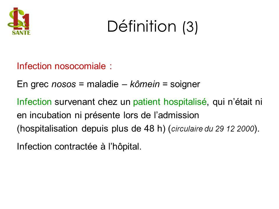 Infection nosocomiale : En grec nosos = maladie – kômein = soigner Infection survenant chez un patient hospitalisé, qui nétait ni en incubation ni pré