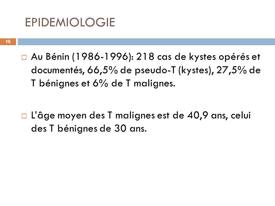 EPIDEMIOLOGIE 16 Au Bénin (1986-1996): 218 cas de kystes opérés et documentés, 66,5% de pseudo-T (kystes), 27,5% de T bénignes et 6% de T malignes. Lâ