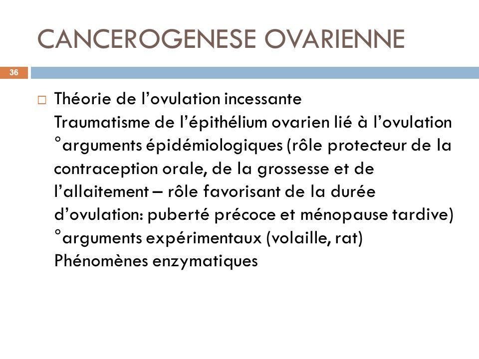 CANCEROGENESE OVARIENNE Théorie de lovulation incessante Traumatisme de lépithélium ovarien lié à lovulation °arguments épidémiologiques (rôle protect