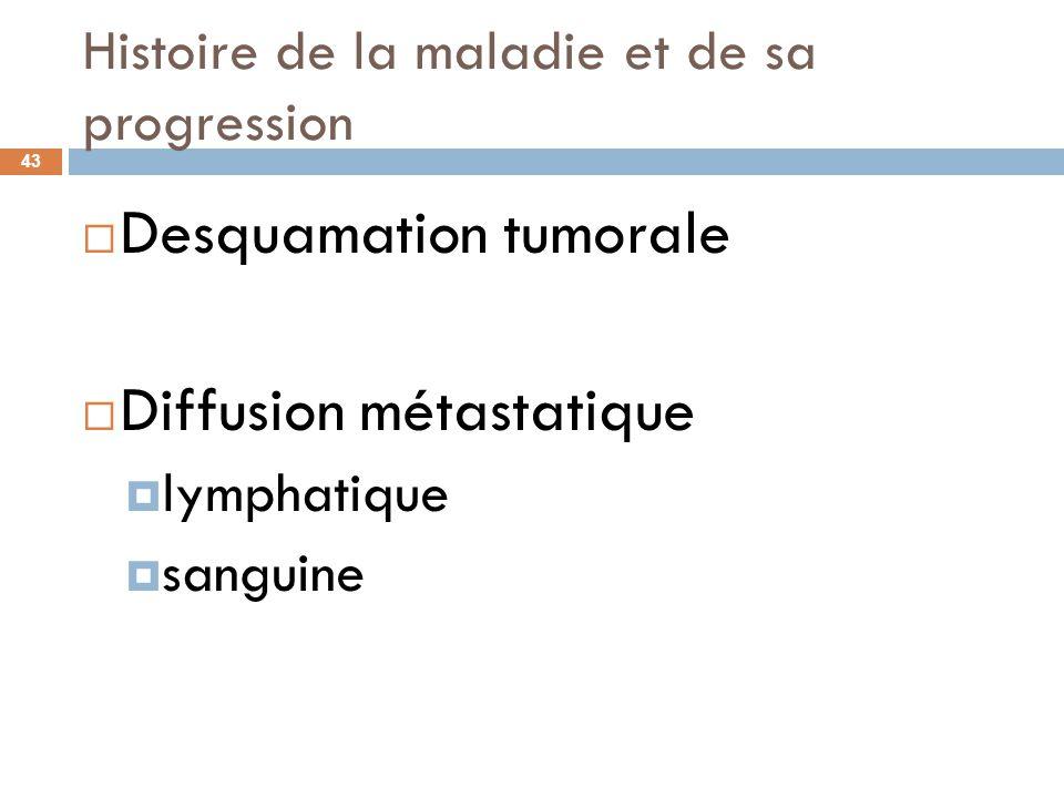 Histoire de la maladie et de sa progression 43 Desquamation tumorale Diffusion métastatique lymphatique sanguine