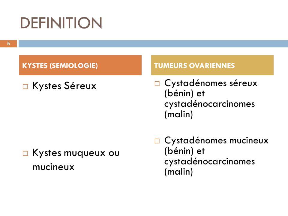 DEFINITION Kystes Séreux Kystes muqueux ou mucineux Cystadénomes séreux (bénin) et cystadénocarcinomes (malin) Cystadénomes mucineux (bénin) et cystad