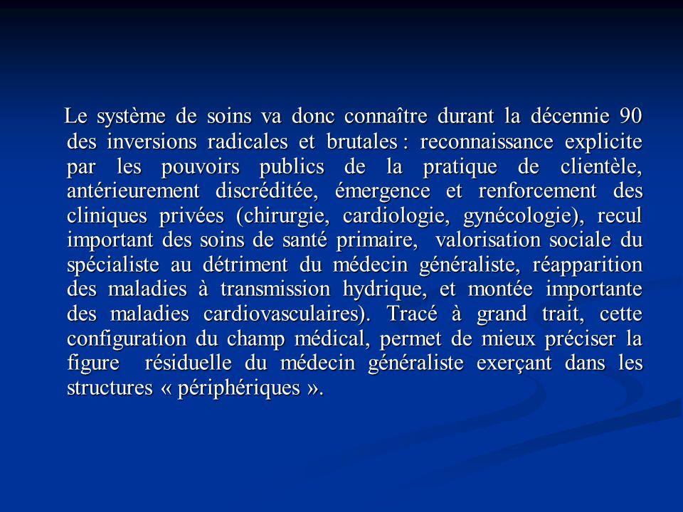 Le système de soins va donc connaître durant la décennie 90 des inversions radicales et brutales : reconnaissance explicite par les pouvoirs publics d