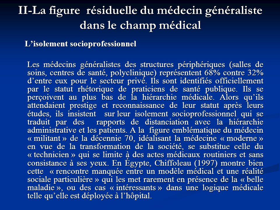 II-La figure résiduelle du médecin généraliste dans le champ médical Lisolement socioprofessionnel Lisolement socioprofessionnel Les médecins générali