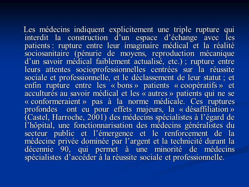 Les médecins indiquent explicitement une triple rupture qui interdit la construction dun espace déchange avec les patients : rupture entre leur imagin