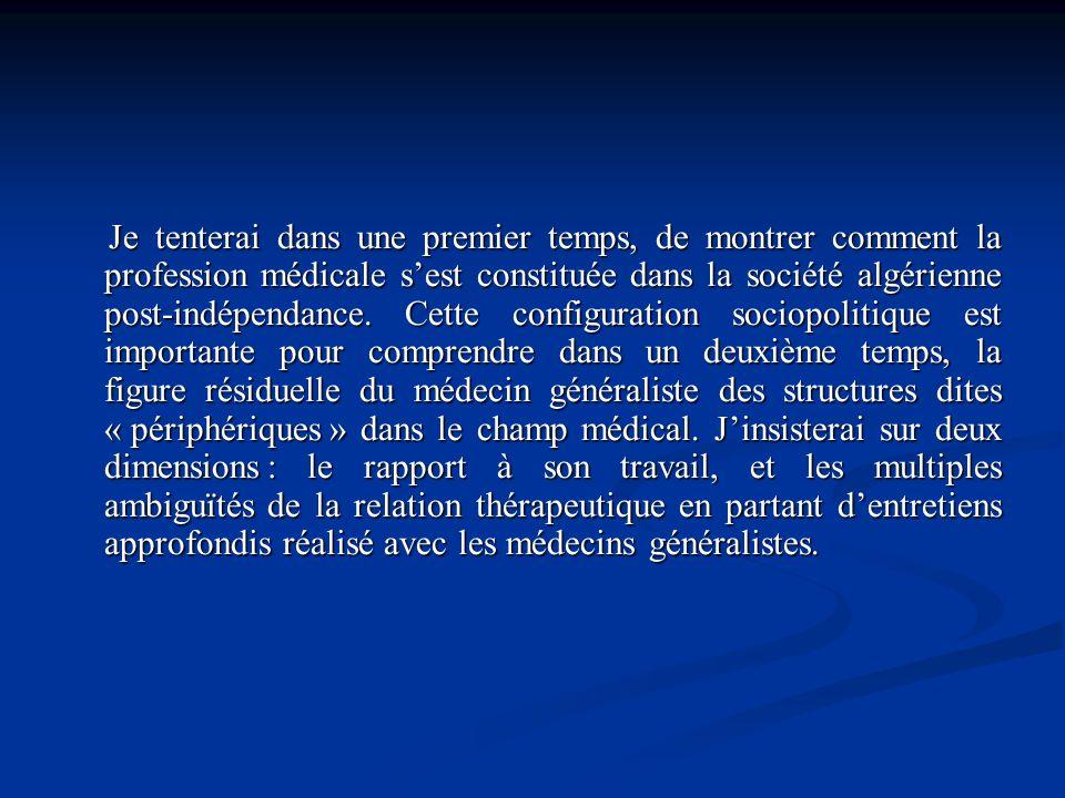 Je tenterai dans une premier temps, de montrer comment la profession médicale sest constituée dans la société algérienne post-indépendance. Cette conf