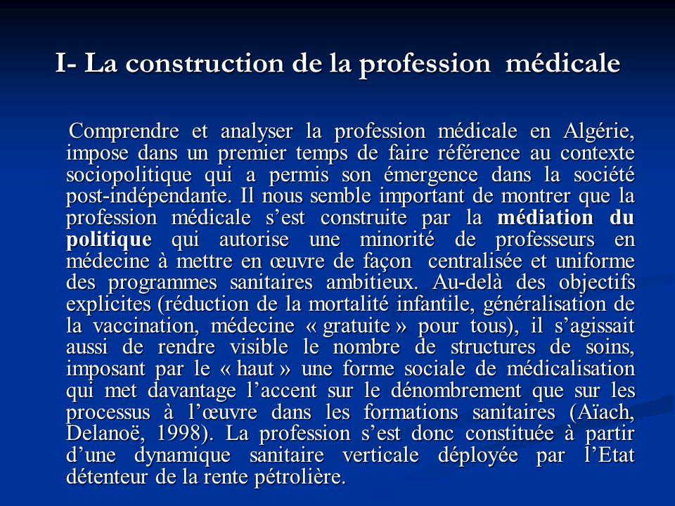 I- La construction de la profession médicale Comprendre et analyser la profession médicale en Algérie, impose dans un premier temps de faire référence