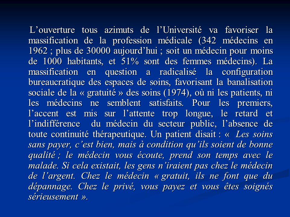 Louverture tous azimuts de lUniversité va favoriser la massification de la profession médicale (342 médecins en 1962 ; plus de 30000 aujourdhui ; soit