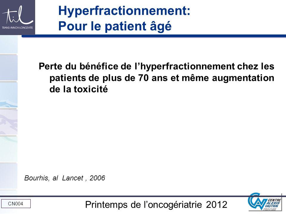 CN004 Printemps de loncogériatrie 2012 Hyperfractionnement: Pour le patient âgé Perte du bénéfice de lhyperfractionnement chez les patients de plus de