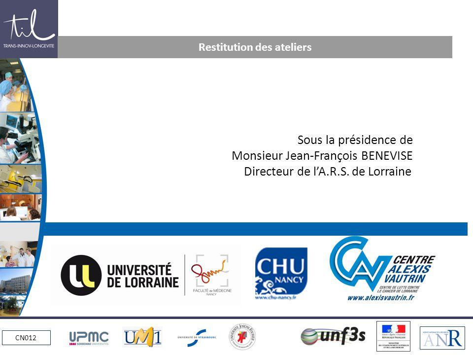 CN012 Restitution des ateliers Sous la présidence de Monsieur Jean-François BENEVISE Directeur de lA.R.S.