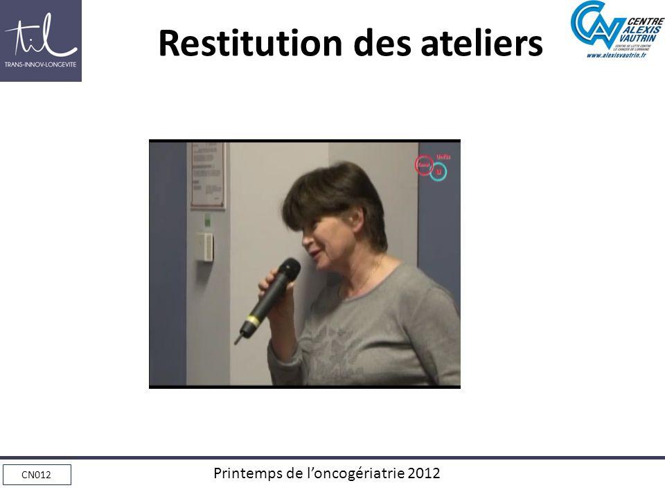 CN012 Printemps de loncogériatrie 2012 Restitution des ateliers