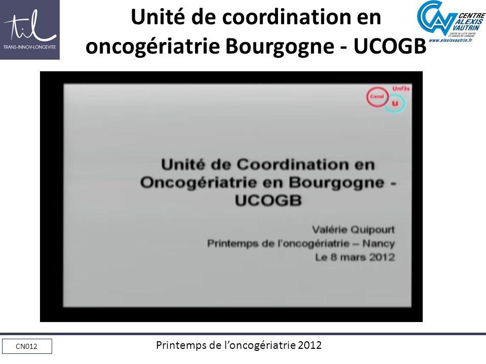 CN012 Printemps de loncogériatrie 2012 Unité de coordination en oncogériatrie Bourgogne - UCOGB