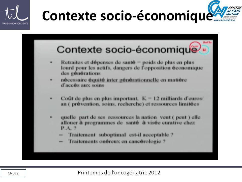 CN012 Printemps de loncogériatrie 2012 Contexte socio-économique