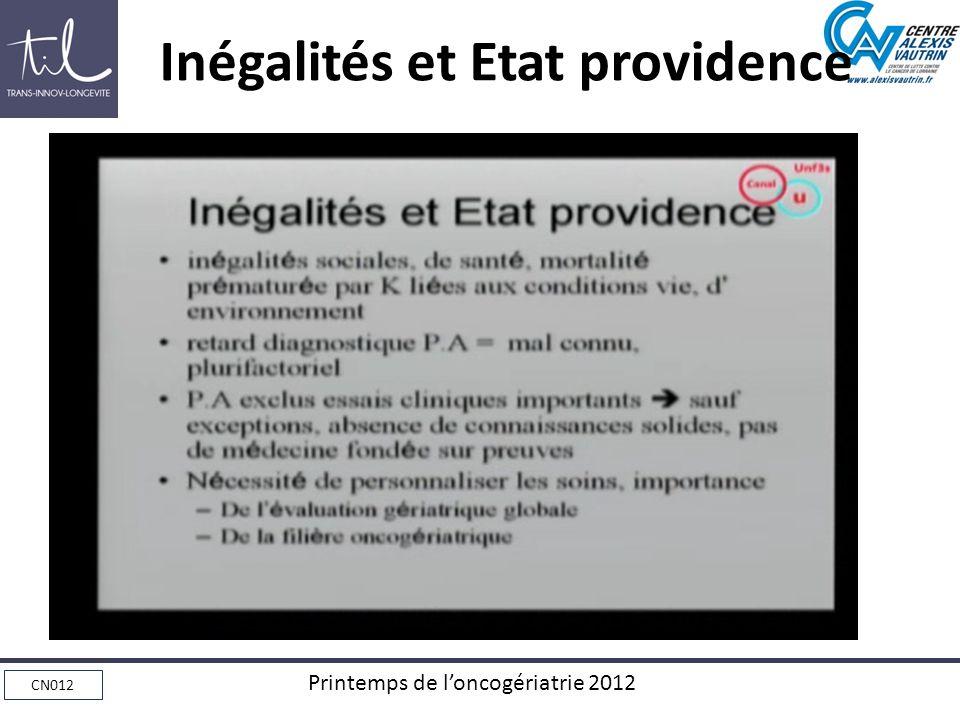 CN012 Printemps de loncogériatrie 2012 Inégalités et Etat providence